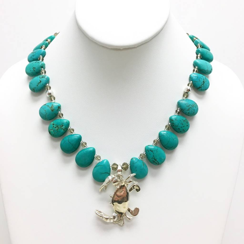 Smoky Crystal & Turquoise Teardrop Necklace