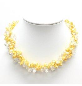 Yellow Pearl & Crystal Triple Strand