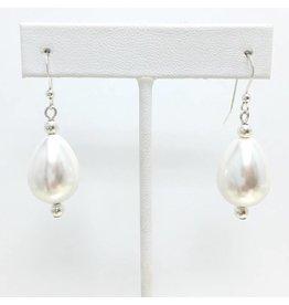 White Teardrop Shell Pearl Earrings