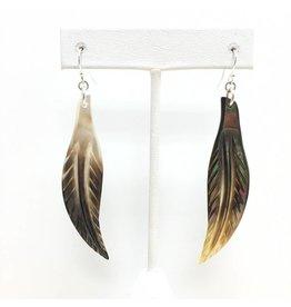 MOP Bronze Feather Earrings