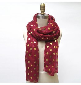 Game Day Burgundy Scarf Gold Dots