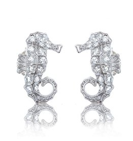 CZ Seahorse Stud Earrings
