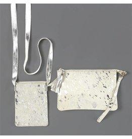 Silver & White Crossbody Bag