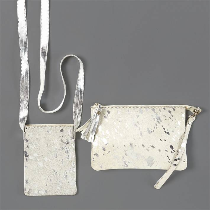 Silver & White Crossbody Bag