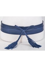 Navy Leather Wrap Tassel Belt