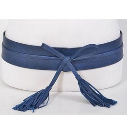 Navy Leather Wrap Tassel Belt