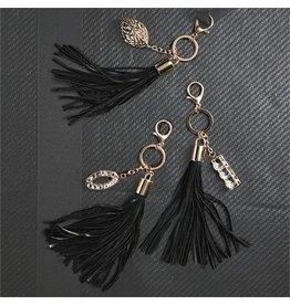 Black Crystal & Leather Tassel