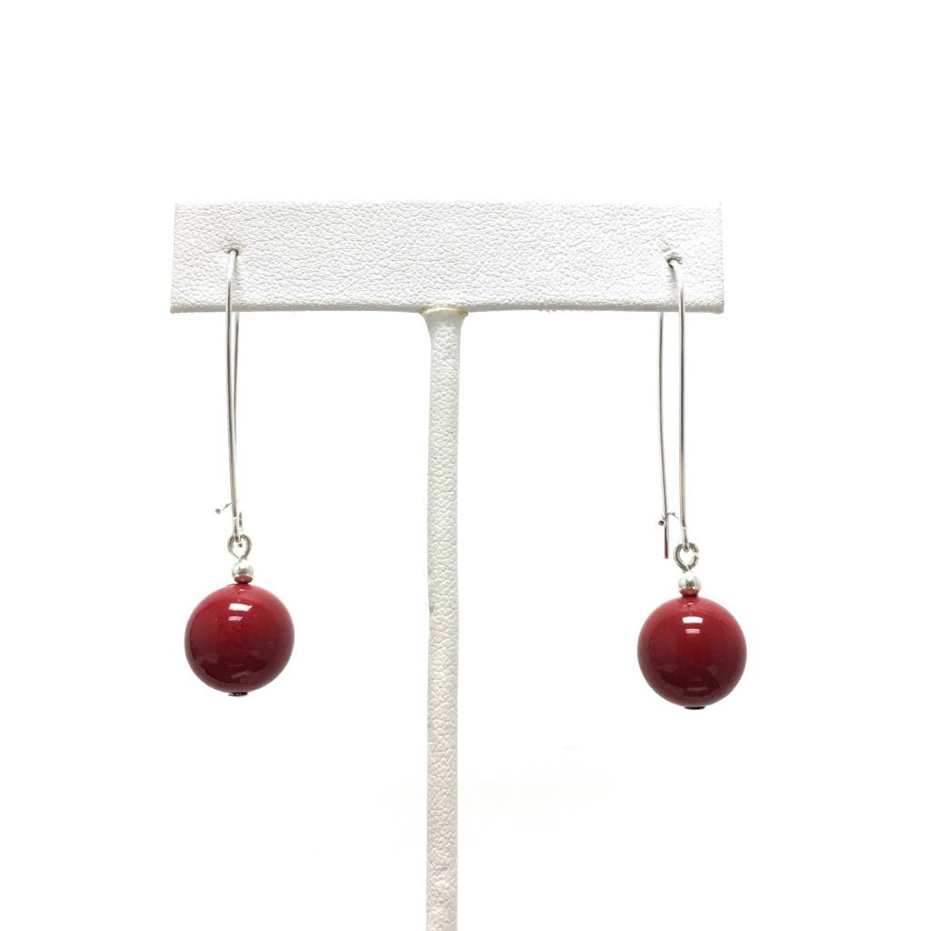 Red Shell Pearl Earrings