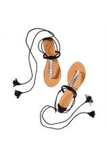 Black Embellished Tie Up Sandals