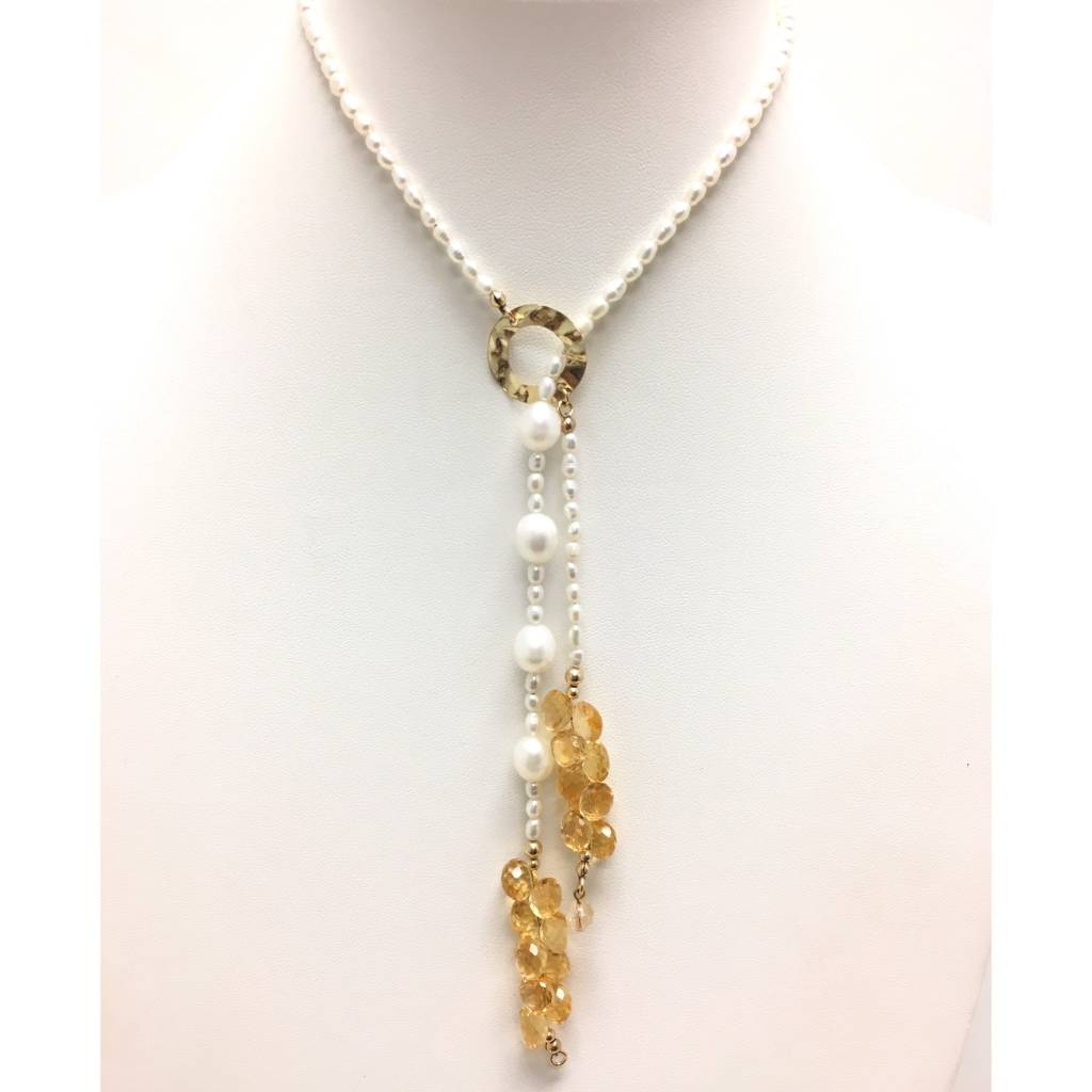 A+ Citrine Cluster Pearl Lariat