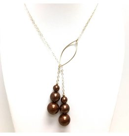 Gold Filled Triple Bronze Shell Pearl Lariat