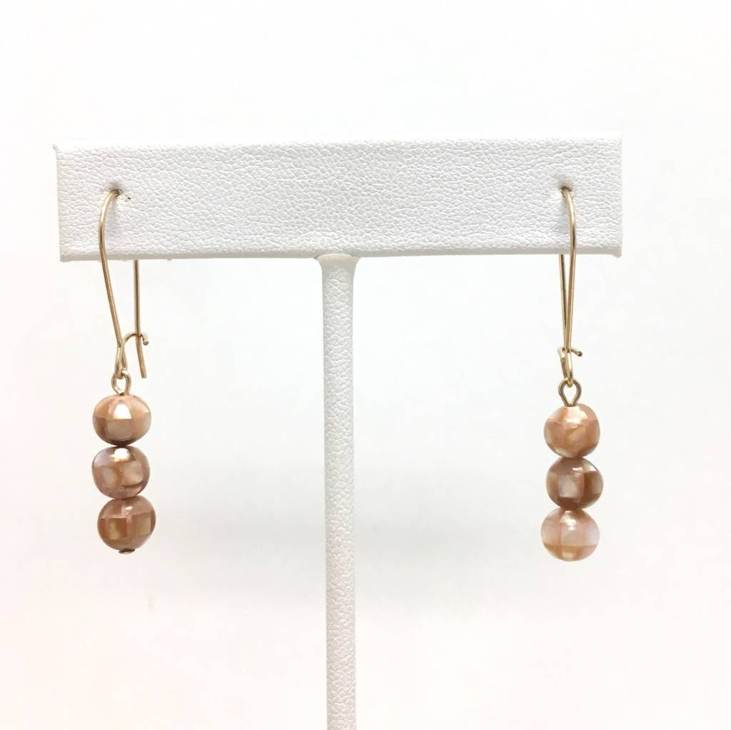 Apricot Mosaic MOP Earrings
