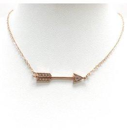 Rose Gold Filled CZ Arrow Necklace