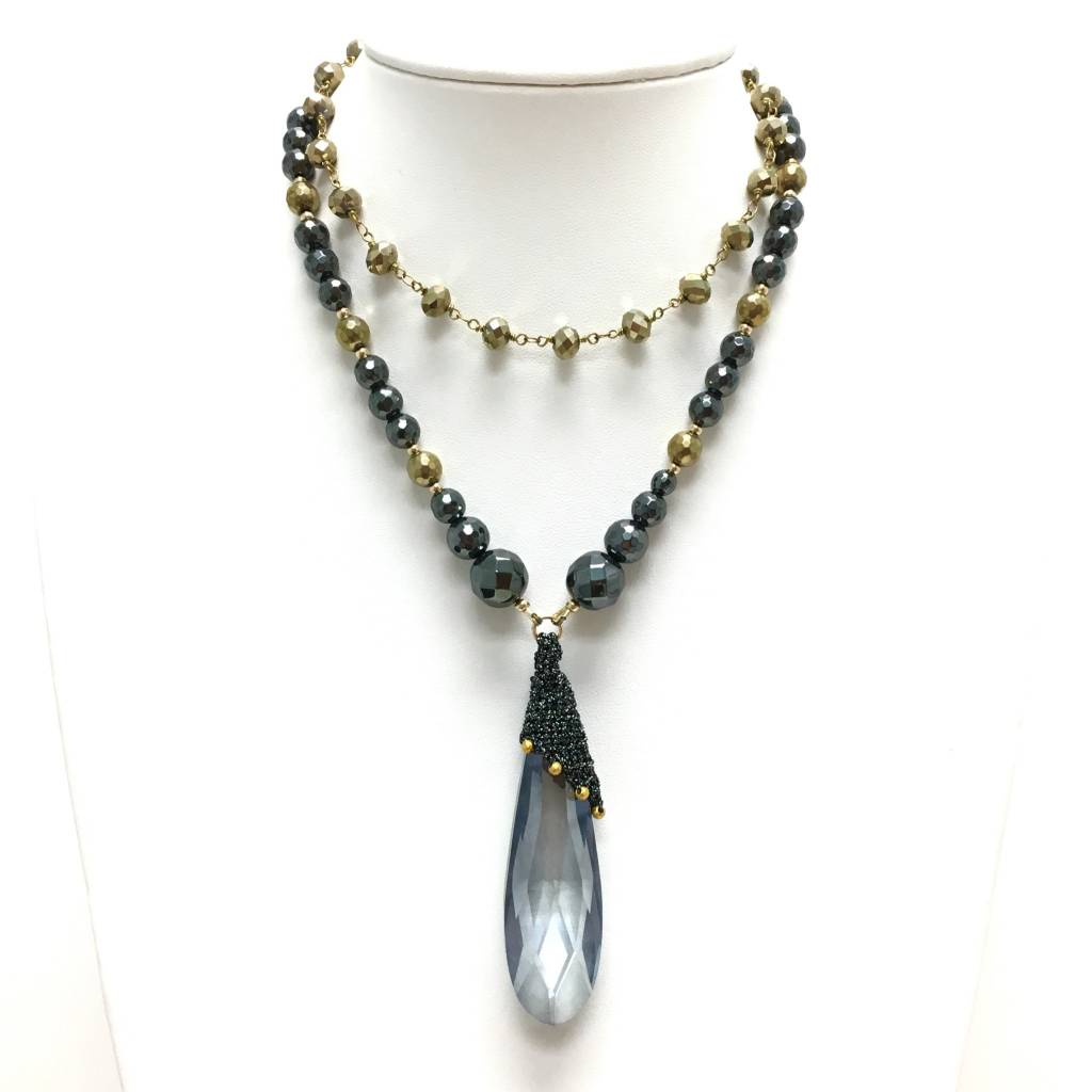 Silk Wrapped Smoky Crystal & Hematite Necklace