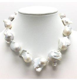 A++ White Baroque Pearl & Swarovski Necklace