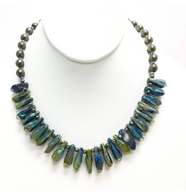 Electroplated Peacock Agate Beaded Necklace