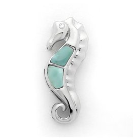 Sterling & Larimar Seahorse with CZ Eye