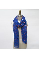 Game Day Blue Scarf Orange Dots