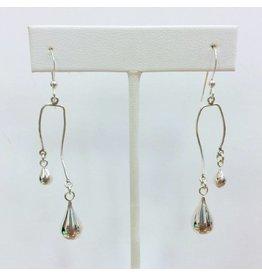Sterling Spiral Earrings with Silver Teardrops (Short)