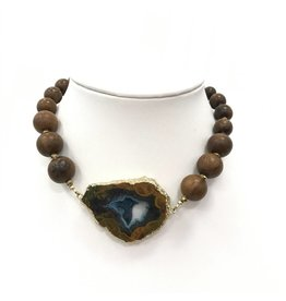 Blue Agate Wood Necklace