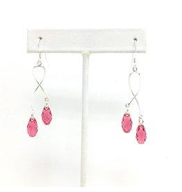 Sterling Spiral Crystal Drop Earrings Pink (Short)