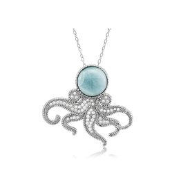 Larimar & CZ Octopus Pendant