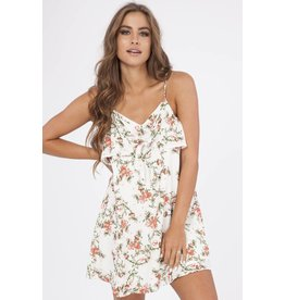 Floral Ruffle Tie Front Dress