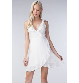 Ruffle Hem Wrap Dress White