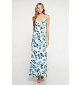 Love Stitch Twist Front Printed Maxi Dress