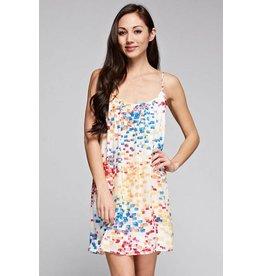 Love Stitch Multicolored Print Mini Dress