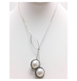 Shell Pearl Marcasite Sterling Lariat