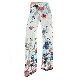 White/Navy Floral Palazzo