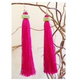Hot Pink & Green Crystal Silk Tassel Earrings