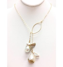 Champagne Baroque Pearl Gold Filled Lariat
