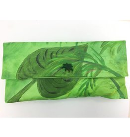 Hand Painted Canvas Clutch Palm