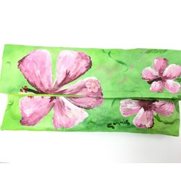Connie Duke Hand Painted Canvas Clutch Pink Hibiscus