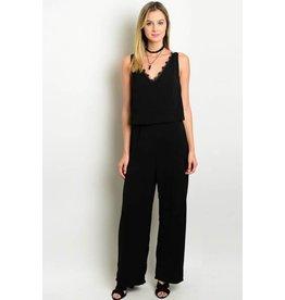 Wholesale Fashion Square Black Jumpsuit w/Lace Scallop Neckline