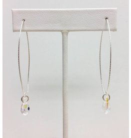 Danity Open Hoop Silver & Crystal Earring