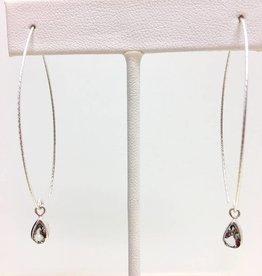 Danity Open Hoop Silver & Topaz Earring