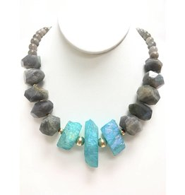 Triple Aqua Electroplated Agate Necklace