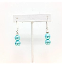 Double Tiffany Blue Shell Pearl Earrings
