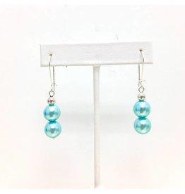 Double Tiffany Blue Shell Pearl Earrings