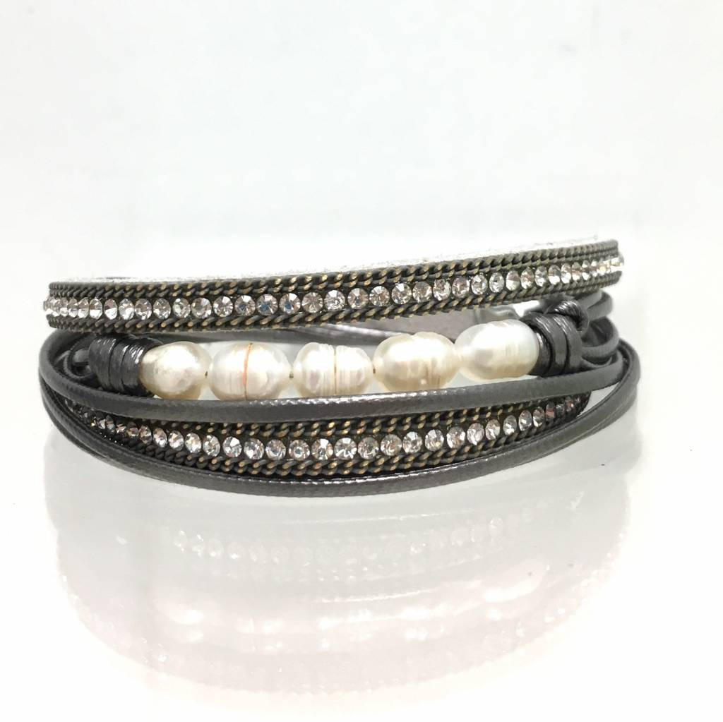 Pearl Suede Double Wrap Grey