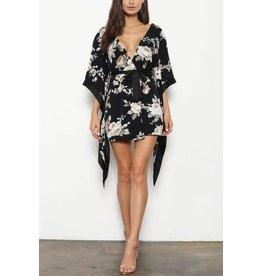BLITHE Black Floral Kimono Dress