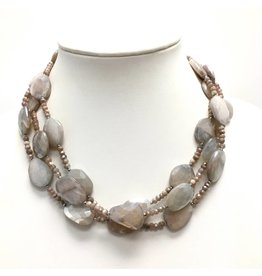 Peach & Chocolate Moonstone Triple Strand