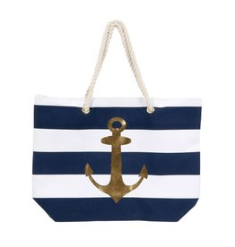 Gold Anchor Stripe Tote
