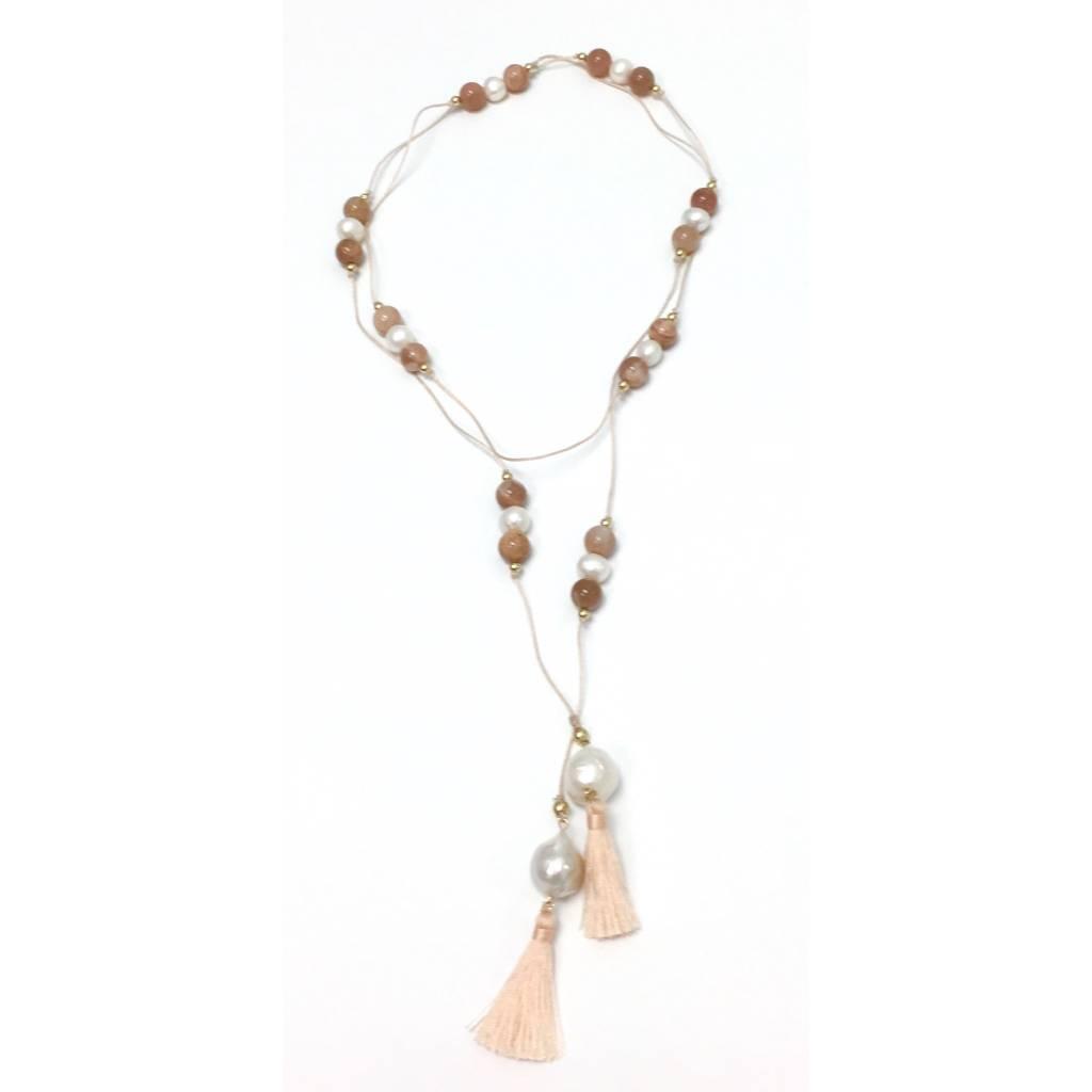 Silk Cord, Moonstone, Pearl Tassel Lariat