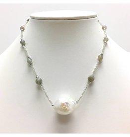 White Baroque & Labradorite Necklace