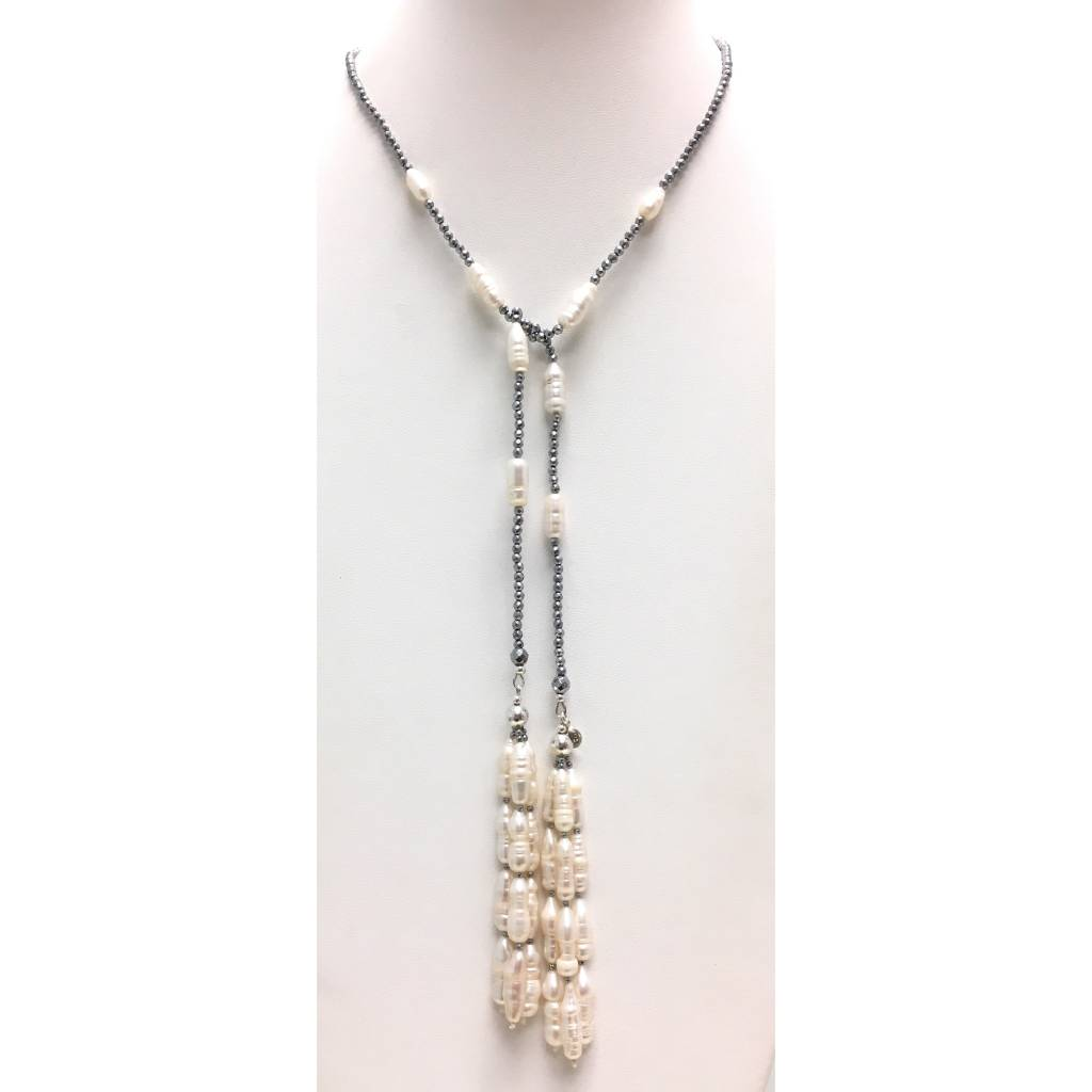 Hematite & Pearl Tassel Lariat