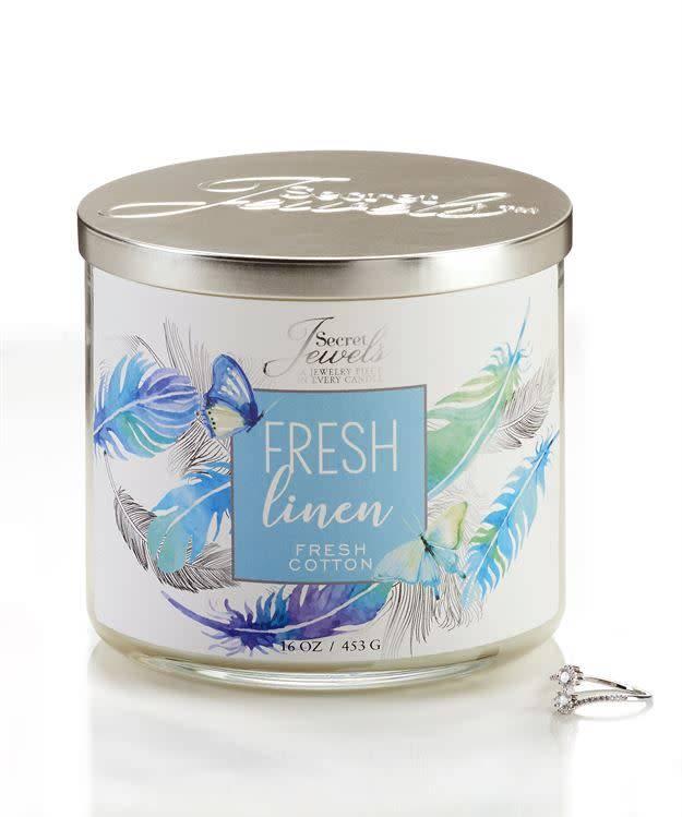 Secret Jewels 3 Wick Candle Fresh Linen